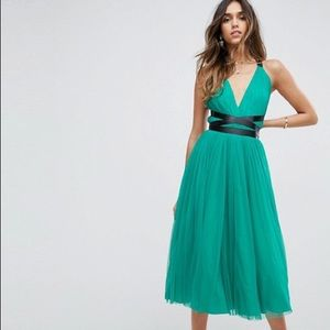ASOS PREMIUM Tulle Midi Dress With Ribbon Ties